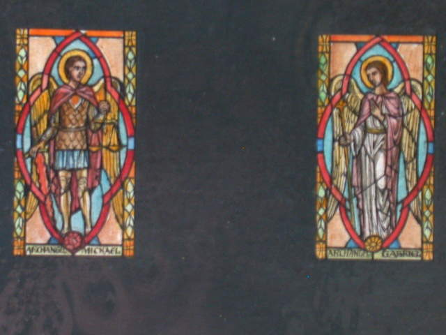 [Design drawing for stained glass window showing Archangel Michael wearing armor, with scale and sword, in trefoil]; and Archangel Gabriel, robed, in trefoil]