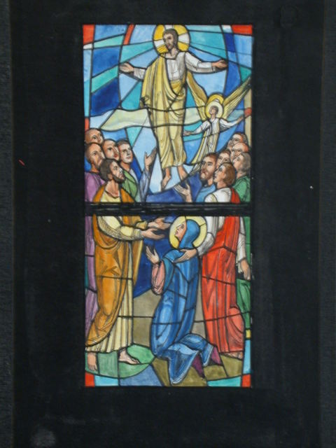 [Design drawing for stained glass window showing Ascension]