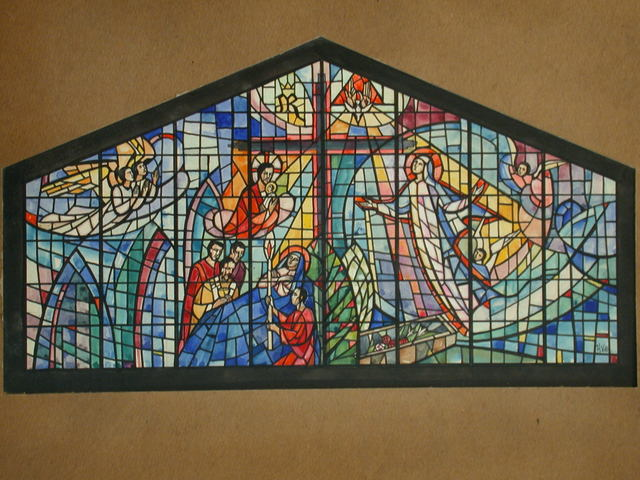 [Design drawing for stained glass window showing Assumption with Cross on mid grid]