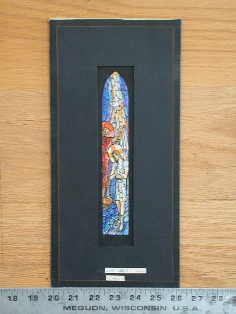 [Design drawing for stained glass window showing Baptism of Christ]