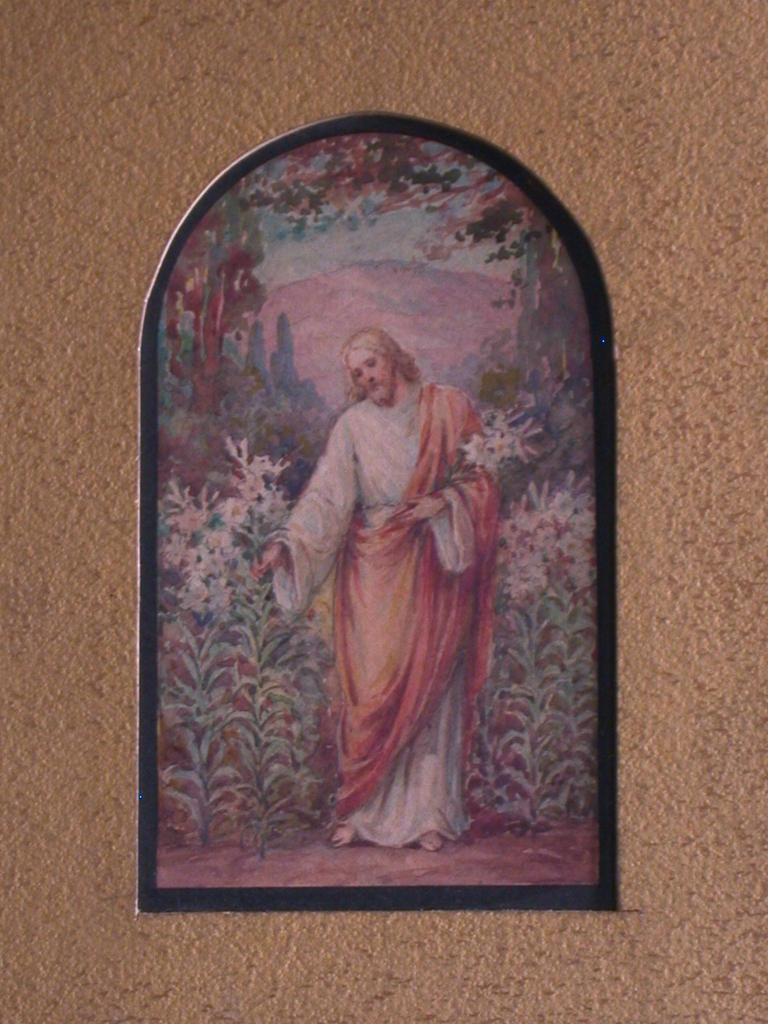 [Design drawing for stained glass window showing Beatific Christ picking lilies with metallic gold washed picture mount]
