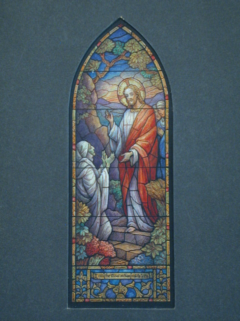 """[Design drawing for stained glass window showing beatific Christ with shrouded, green-skinned sick/Lazarus? with text """"I am the Resurrection and the Life""""]"""