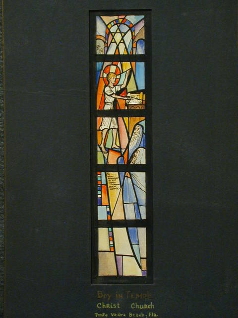 """[Design drawing for stained glass window showing Boy in Temple, abstracted, with Star of David and text """"All were Astonished ..."""" for Christ Church in Ponte Vedra Beach, Florida]"""