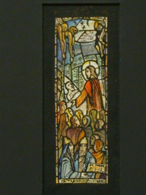 [Design drawing for stained glass window showing Capernaum where Jesus heals a paralytic and reveals the authority to forgive; with text: St. Mark 2: 1-12]