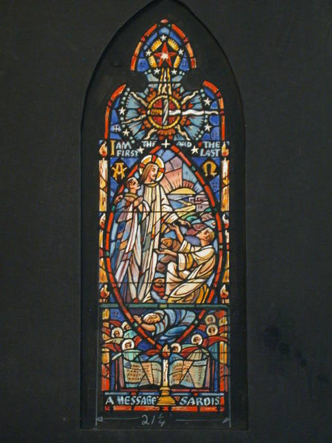 """[Design drawing for stained glass window showing Christ and """"faithful few,"""" and """"many sleepers"""" in mandorla, surrounded by angels, Alpha and Omega, candle, star, and Book of life with names; with text """"A Message to Sardis: I Am the First and the Last"""" (Revelations 3: 1-6)]"""