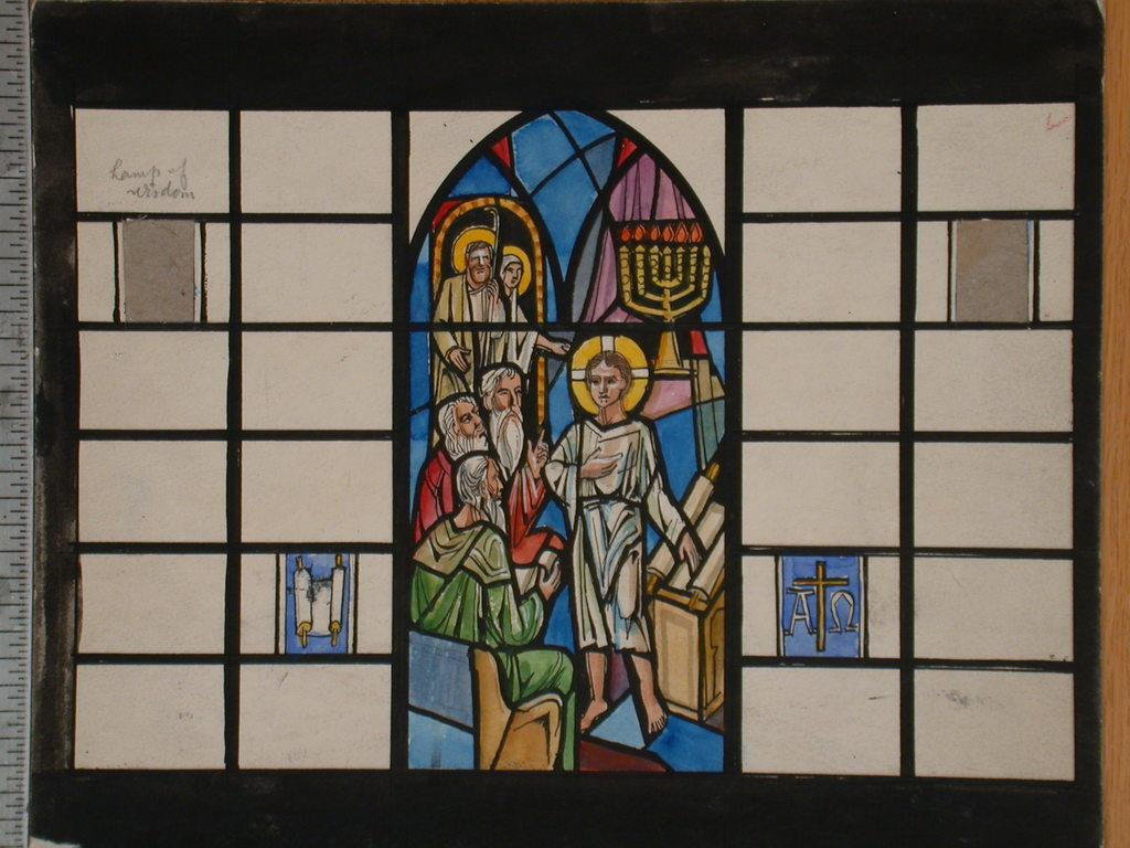 """[Design drawing for stained glass window showing Christ as child in Temple, with menorah, scroll, Alpha and Omega, and blank space for """"lamp of wisdom""""]"""