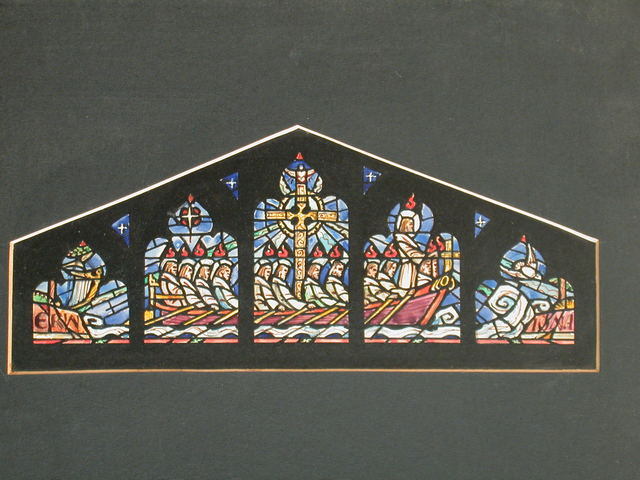 [Design drawing for stained glass window showing Christ in prow of 12-oarsmen-ship from Erin, with harp, to Iona--center of Celtic Christianity-- with dove]