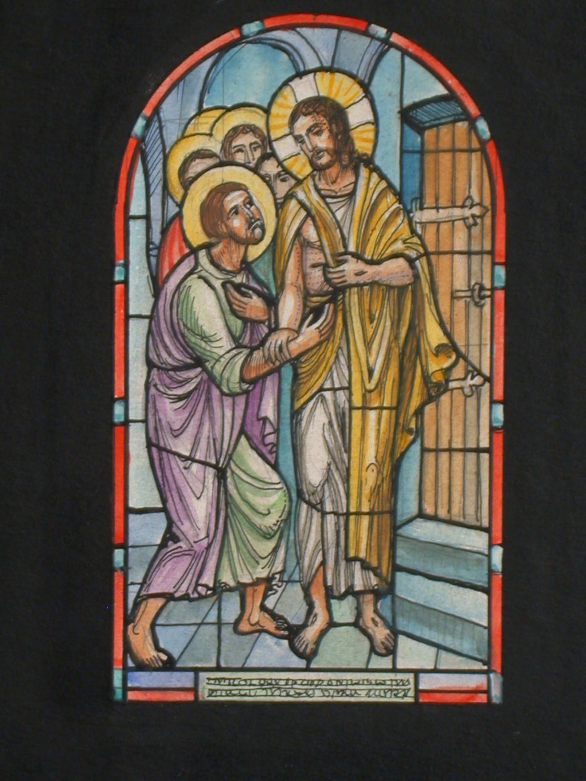 [Design drawing for stained glass window showing Christ with disciples]