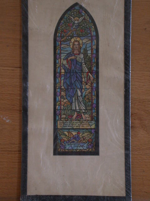 "[Design drawing for stained glass window showing Christ with dove, grape vines, small lower depiction of the Good Samaritan with angels holding memorial inscription with text ""Inasmuch as ye have done it unto the least of these my brethren-- ye have done it unto me""]"