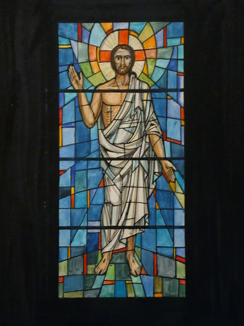 [Design drawing for stained glass window showing Christ with stigmata, on mid grid]