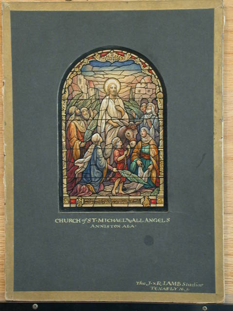 [Design drawing for stained glass window showing Christ's Entry into Jerusalem, beatific with columnar frame, architecture, and palm leaves for Church of St. Michael and All Angels in Anniston, Alabama]