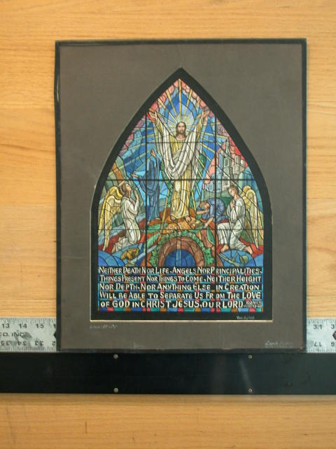 "[Design drawing for stained glass window showing classical resurrection with skyscrapers and text ""Neither Death Nor Life..."" Romans VIII: 37-38]"