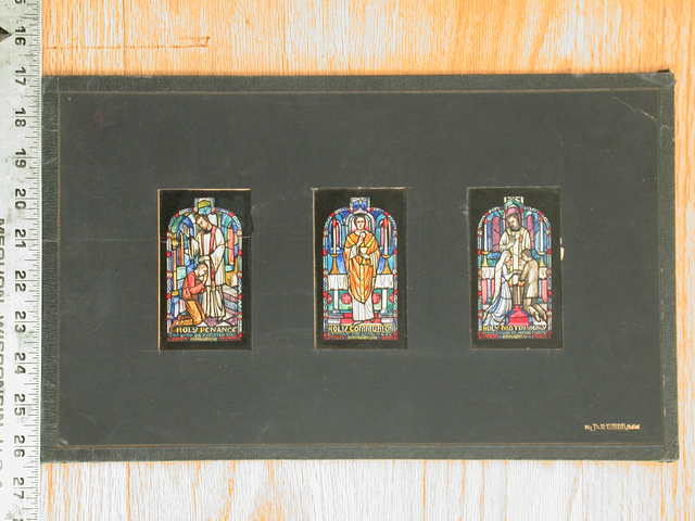[Design drawing for stained glass window showing contemporary, modern-dress sacraments engaged in Holy Penance; Holy Communion; and Holy Matrimony]