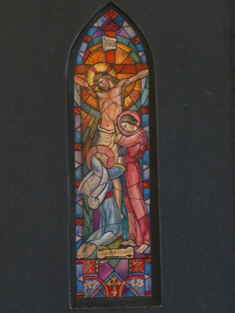 [Design drawing for stained glass window showing Crucifixion with Marys]