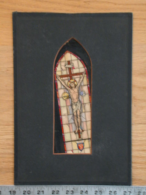 [Design drawing for stained glass window showing Crucifixion with sun, moon, and gestures of blessing]