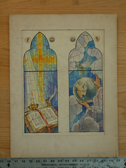 [Design drawing for stained glass window showing Divine light on book and quill; Hands of God hold globe]