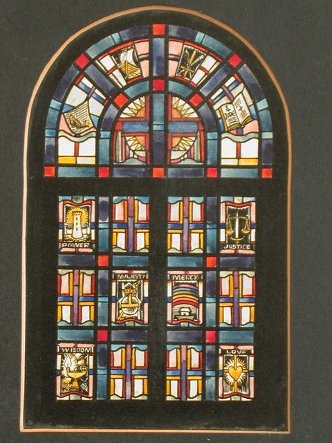 [Design drawing for stained glass window showing divine virtues: power = tower, scales = justice, rainbow = mercy, etc.]