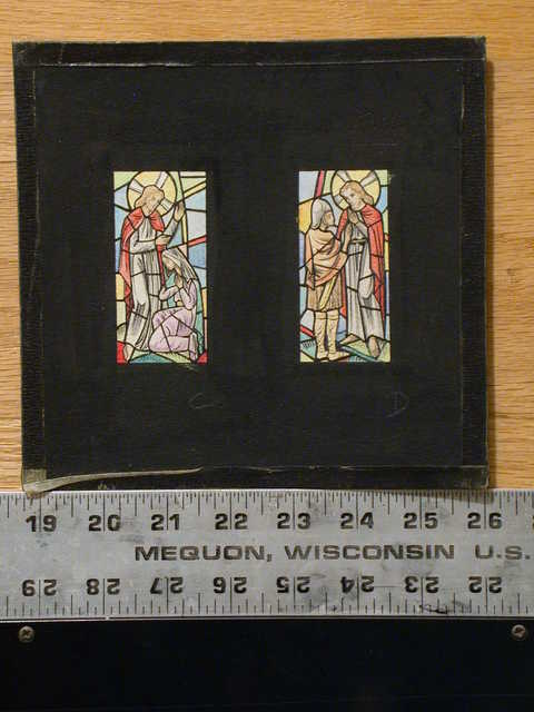 [Design drawing for stained glass window showing Faith with Mary kneeling to Christ]; and Forgiveness with Christ regarding a Roman soldier]