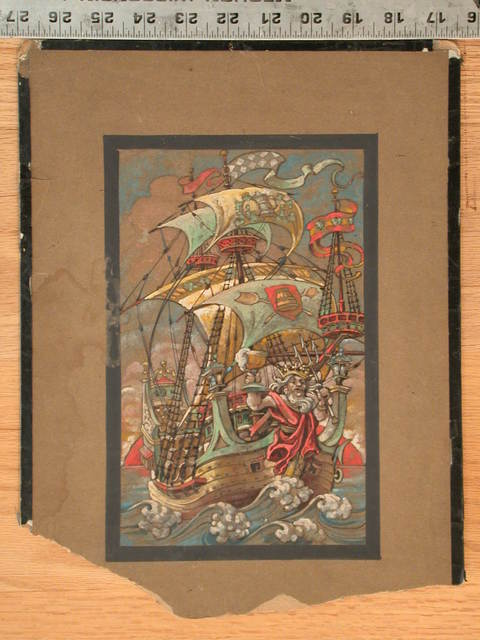 [Design drawing for stained glass window showing fanciful tall ship with drunken Neptune figurehead, dancing waves, and orange sun on horizon]