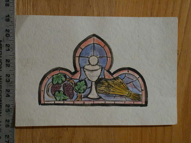 [Design drawing for stained glass window showing grapes, chalice, and sheaf of Eucharist]