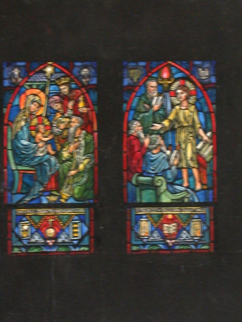 """[Design drawing for stained glass window showing infant Christ with Magi and text """"They Fell Down to Worship Him;"""" and Young Christ in temple with text """"In the Midst of those who Taught There"""" for Emmaunel Episcopal Church in Bristol, Virginia]"""