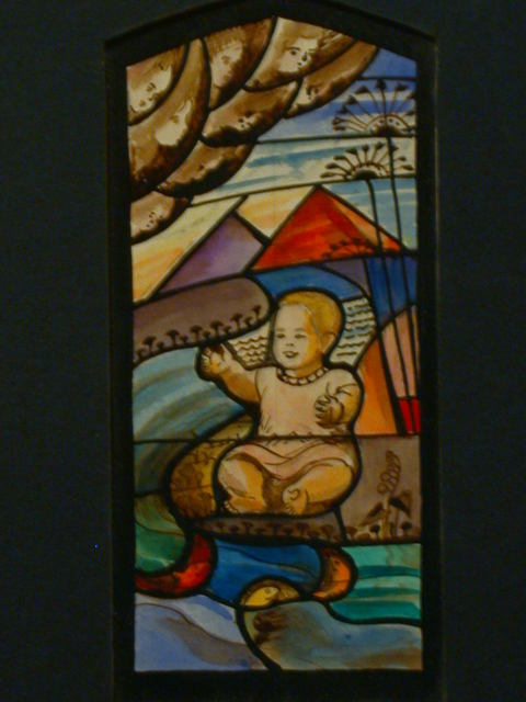 [Design drawing for stained glass window showing infant (Moses?) at river with Pyramids, palms]