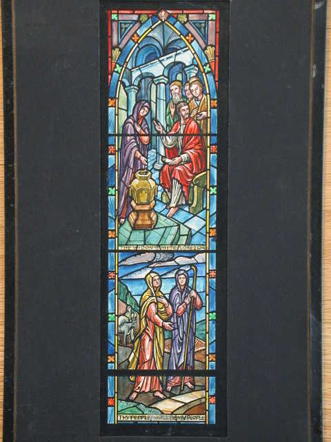 "[Design drawing for stained glass window showing Jesus Christ pointing out suffering; with architecture, scroll; with text ""The Widow's Mite"" and ""Thy People Shall be my People"" for Post Chapel in Fort Monmouth, New Jersey]"