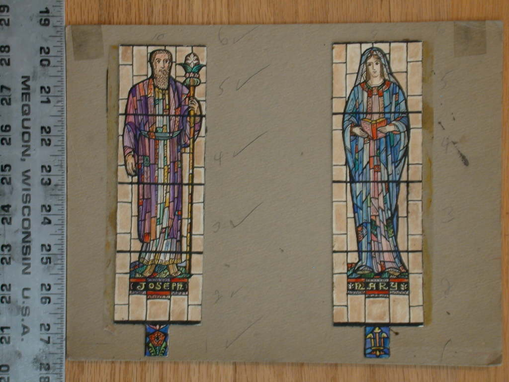 [Design drawing for stained glass window showing Joseph and Mary with static, Byzantine style figures over grid]