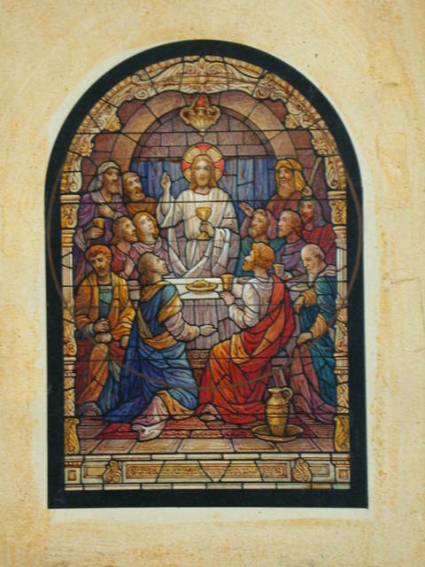 [Design drawing for stained glass window showing Last Supper with elaborate columnar frame; arched rectangle shape with circle sketched over center--possible shape change considered?]