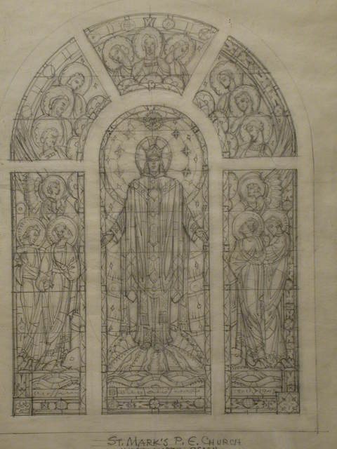 [Design drawing for stained glass window showing majestic, crowned Christ with court of saints and angels for St. Mark's P.E. Church in Westhampton, New York]