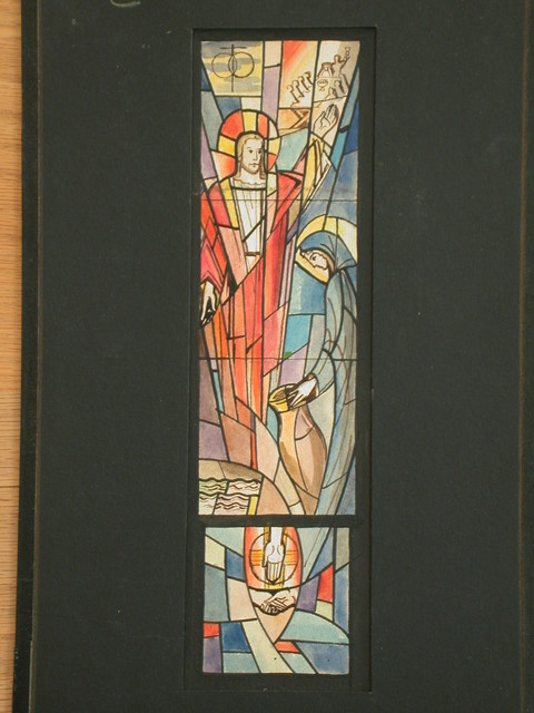 [Design drawing for stained glass window showing Mary Magdalene washing Christ's feet. Angular, radiating abstraction]