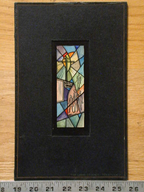 "[Design drawing for stained glass window showing modern-dress congregants with text ""The Cross, Symbol of our Salvation""]"