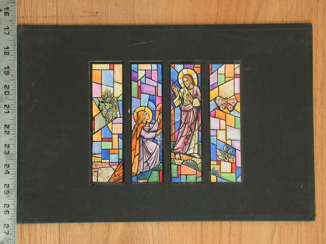 [Design drawing for stained glass window showing Noli Me Tangere with grape vine, butterfly, lily, and Jerusalem; on mid grid]