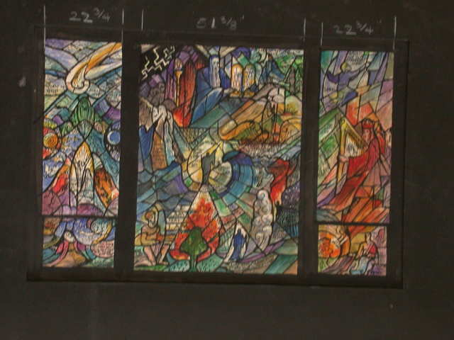 [Design drawing for stained glass window showing Old Testament narratives with intricate, text-heavy radiating design]