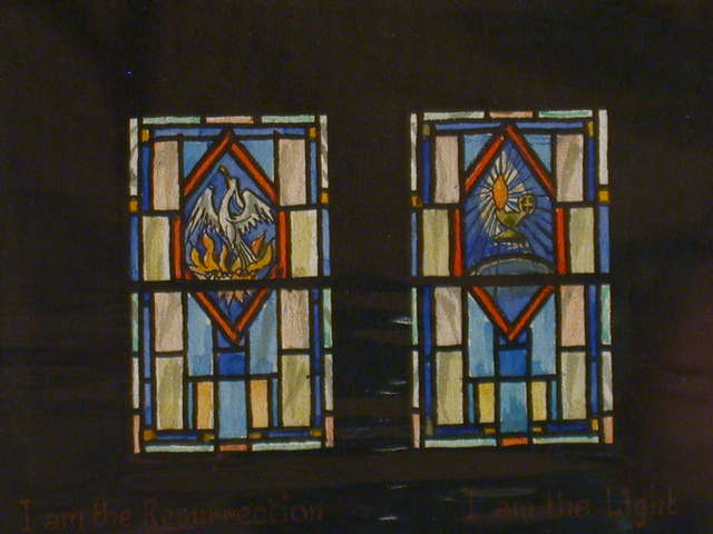 """[Design drawing for stained glass window showing phoenix and oil lamp with text """"I am the Resurrection; I am the Light""""]"""