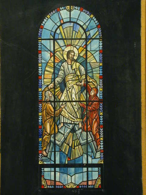 [Design drawing for stained glass window showing Resurrection in Byzantine style]