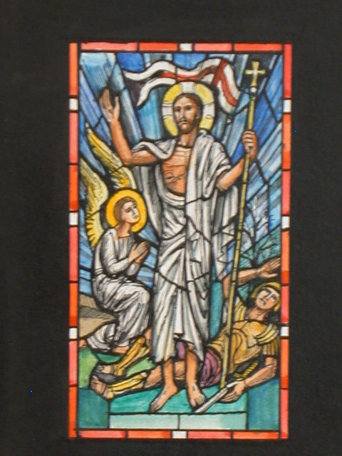 [Design drawing for stained glass window showing Resurrection with flag, stigmata, soldier, and angel]