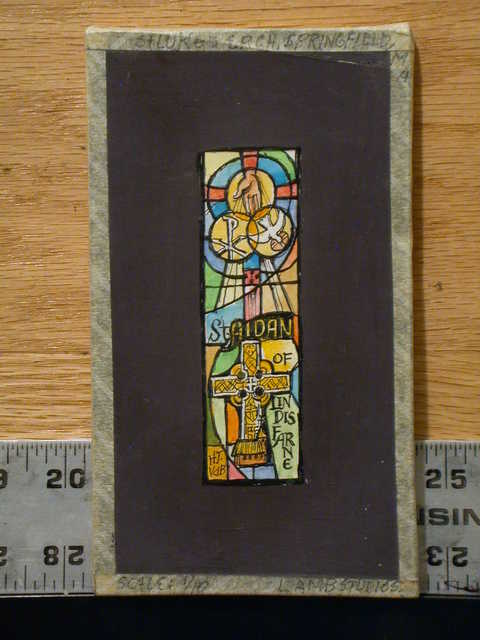 [Design drawing for stained glass window showing St. Aiden of Lindisfarne with Chiro, hand, dove, and Celtic/Hibernian cross for St. Luke's Episcopal Church in Springfield, Massachusetts]
