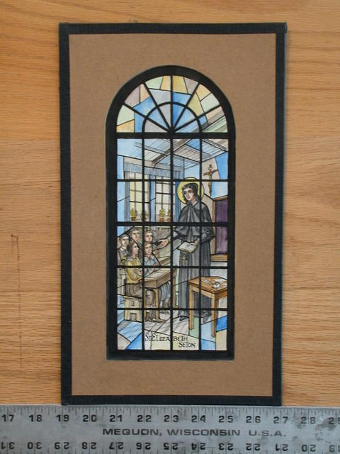 [Design drawing for stained glass window showing St Elizabeth Seton]