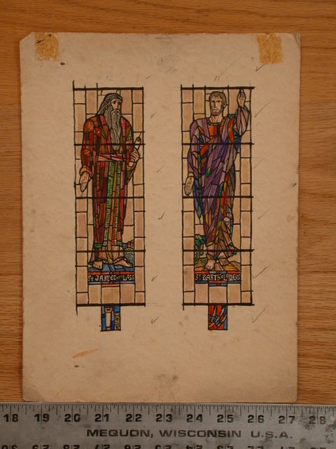 [Design drawing for stained glass window showing St. James the Less and St. Bartholomew as statuesque figures on grids]