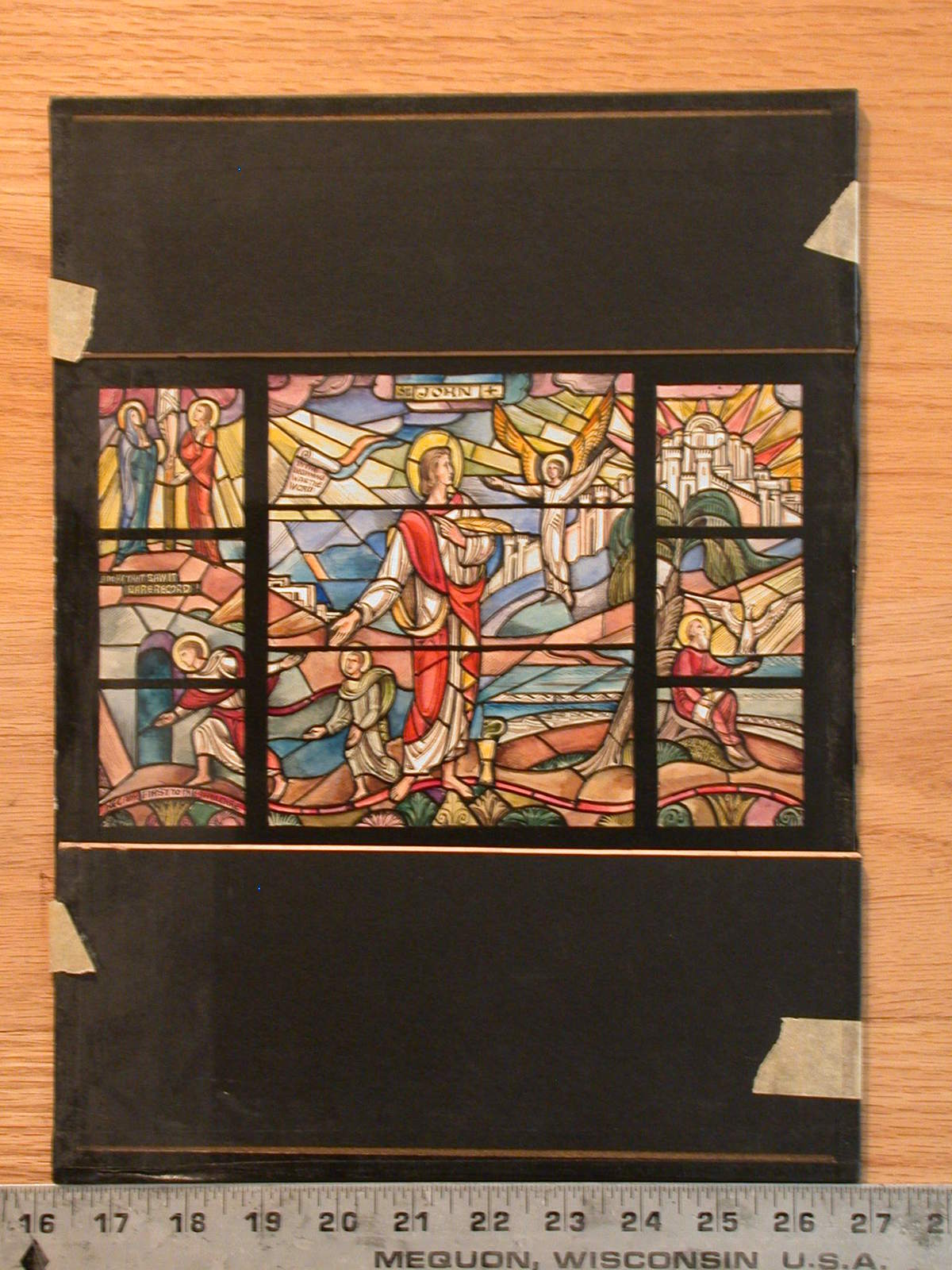 [Design drawing for stained glass window showing St John, gospel writer, at center with quill, snake in chalice, looking to angel, before conflated narrative scenes of life and events, and Jerusalem]