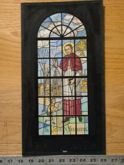 [Design drawing for stained glass window showing St. John N. Neumann (Czech-American missionary among Mid-Atlantic German communities; first American bishop to be beatified) with scenes from Nineteenth Century Philadelphia: Independence Hall, smokestacks, and beseeching boy]