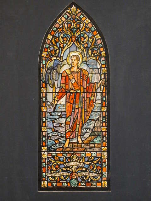 [Design drawing for stained glass window showing St. John the Evangelist]