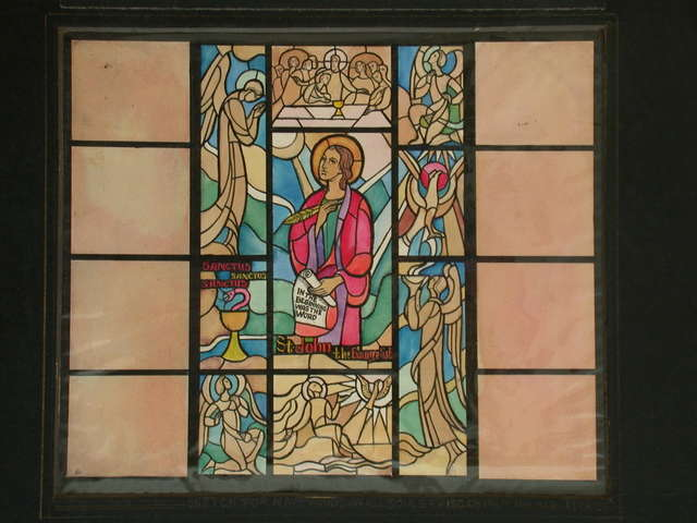 [Design drawing for stained glass window showing St. John the Evangelist, boldly stylized with Gothic sway, for All Souls Episcopal Church in Miami Beach, Florida]