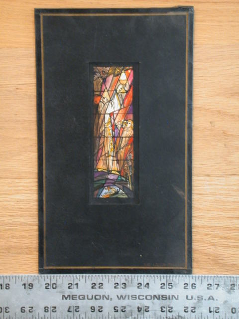 [Design drawing for stained glass window showing St. Joseph of Arimathea with Holy Grail and ship for St. David's Episcopal Church in Southfield, Michigan]