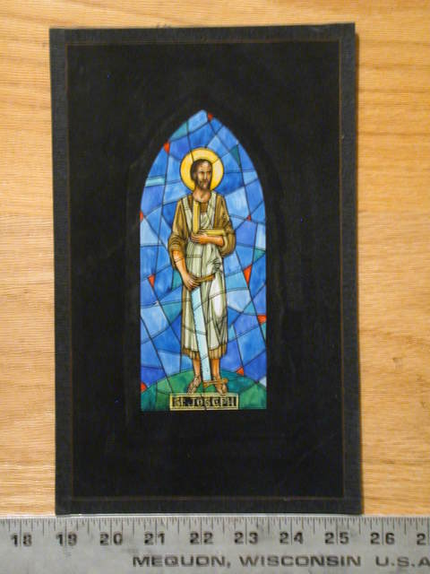 [Design drawing for stained glass window showing St Joseph with carpentry tools]