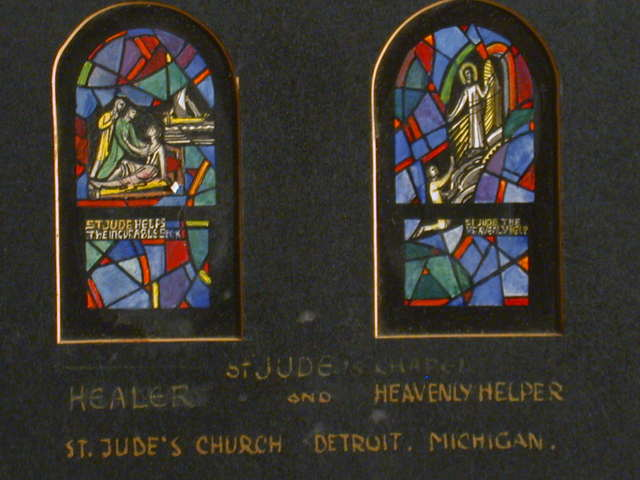 """[Design drawing for stained glass window showing St Jude the Healer with text: """"St Jude Helps the Incurable Sick ... St Jude the Heavenly Helper"""" for St. Jude's Church in Detroit, Michigan]"""