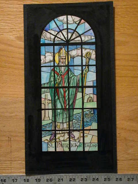[Design drawing for stained glass window showing St. Patrick of Ireland, with snakes, shamrock, beehive hut church, Celtic cross. Green tones]