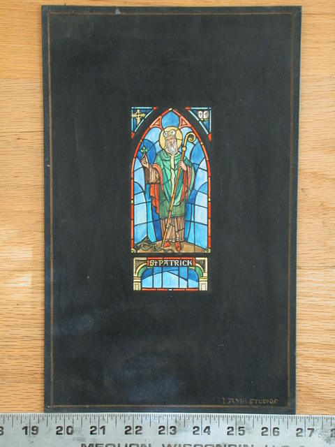 [Design drawing for stained glass window showing St Patrick with shamrock, crook, snakes, arch, cross, and Bible]