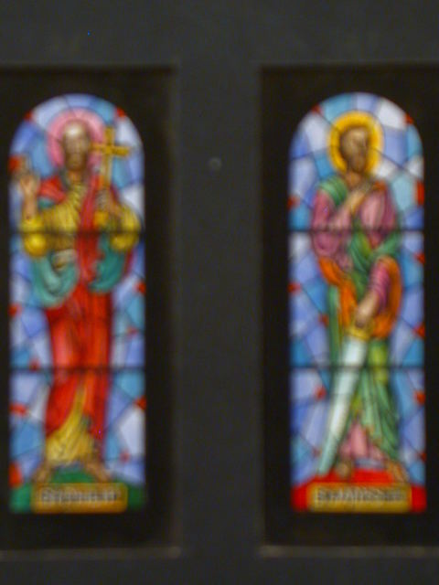 [Design drawing for stained glass window showing St Philip with cross, blessing gesture; and St James the Less with saw]